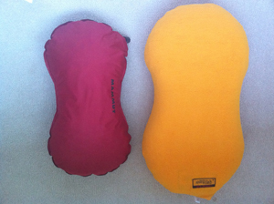 Mammut Soft skin pillow on the left, Air pillow on the right