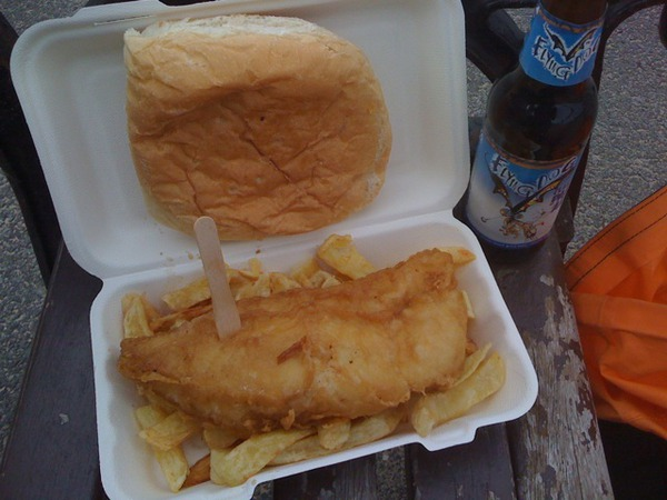 fish, chips and flying dog